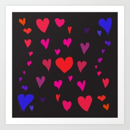Imperfect Hearts - Color/Black Art Print