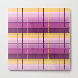 Seamless Colorful Abstract Modern Line Plaid Pattern Metal Print