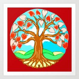 Heart Tree of Life Mandala Red Art Print
