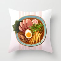 ramen Throw Pillows featuring Ramen by Tami Wicinas