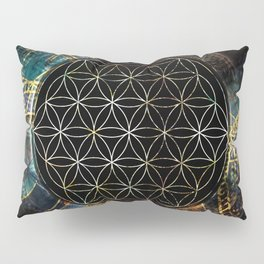Flower of Life and Zodiac in Cosmic Space Pillow Sham
