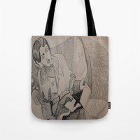 oscar wilde Tote Bags featuring Oscar Wilde Author Portrait by Wicked Ink