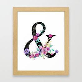 Black Floral Ampersand Framed Art Print