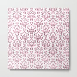 Mulberry Ornamental Flower & Vines Pattern Metal Print