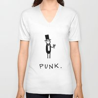 punk V-neck T-shirts featuring Punk by Muses.is
