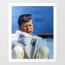 John F Kennedy Smoking Art Print
