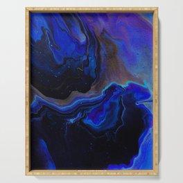 Dark Blue Midnight Waves Serving Tray