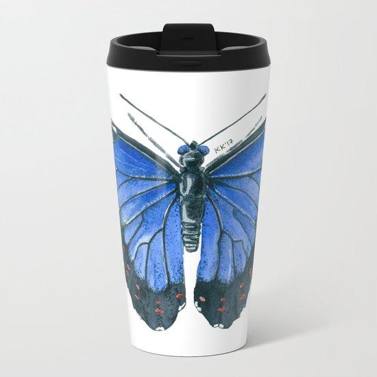Blue Morpho butterfly watercolor painting Metal Travel Mug