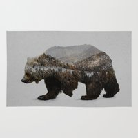 money Area & Throw Rugs featuring The Kodiak Brown Bear by Davies Babies