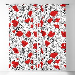Red poppy field Blackout Curtain