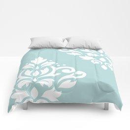 Scoll Damask Art I White on Duck Egg Blue Comforters