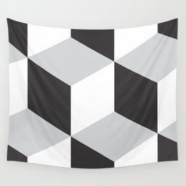 Cubism Black and White Wall Tapestry