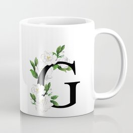 Letter 'G' Gardenia Flower Monogram Coffee Mug