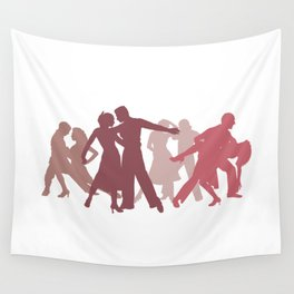 Latin Dancers Illustration Wall Tapestry