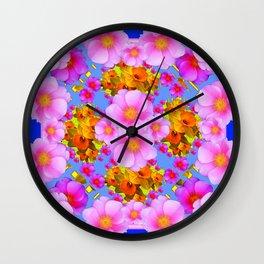 Decorative Pink & Blue Art Wall Clock