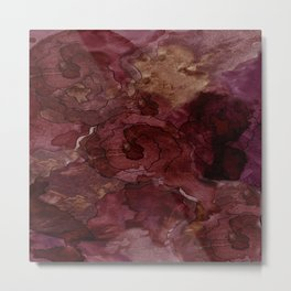 Rose, Burgundy and Merlot Watercolor Flowers Metal Print