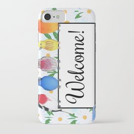 backyard birds welcome sign with daisies iPhone Case