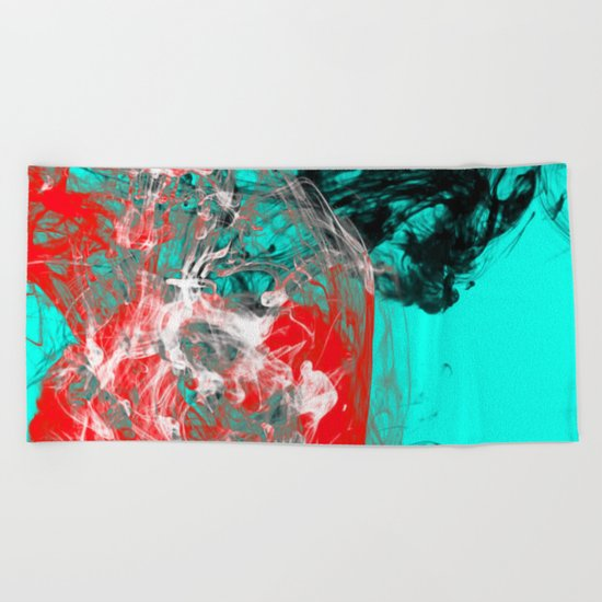 Marbled Collision - Abstract, red, blue, black and white mixed paint artwork Beach Towel