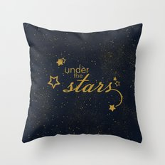 Under the stars- sparkling night typography Throw Pillow