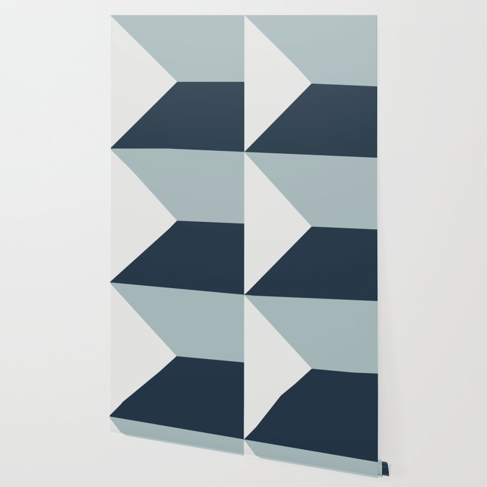 Navy Blue White Abstract Geometric Art Wallpaper By Koovox