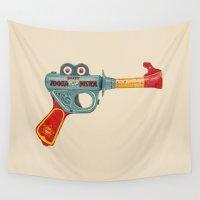 gun Wall Tapestries featuring Gun Toy by Florent Bodart / Speakerine