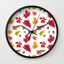 Autumn leaves pattern. Seamless pattern with various hand drawn autumn leaves.  Wall Clock