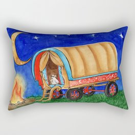 Gypsy Chicken in a covered Wagon Rectangular Pillow