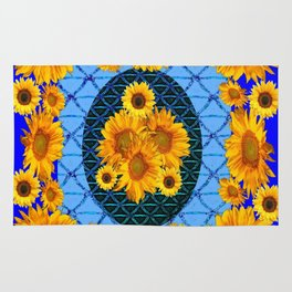 DECORATIVE BLUE ART & YELLOW SUNFLOWERS PATTERN Rug