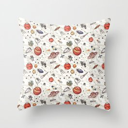 Galaxy Space Pattern | Astronaut Planets Rockets Throw Pillow