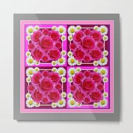 Fuchsia Rose Bouquet Garden Shasta Daisies Art Panels Grey Abstract Metal Print