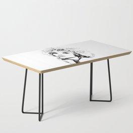 Black Woman Portrait Minimal Drawing Coffee Table