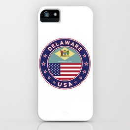 Delaware, Delaware t-shirt, Delaware sticker, circle, Delaware flag, white bg iPhone Case