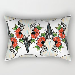Crow Skull and Flowers Rectangular Pillow
