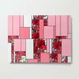 Mixed color Poinsettias 1 Art Rectangles 9 Metal Print