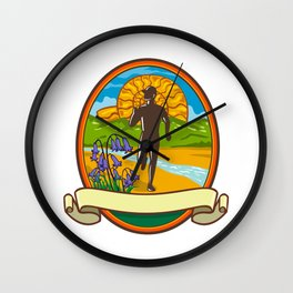 Fun Run Bluebells and Ammonite Oval Retro Wall Clock