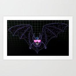 Neon Bat Art Print