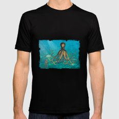 Octopus & The Diver MEDIUM Mens Fitted Tee Black