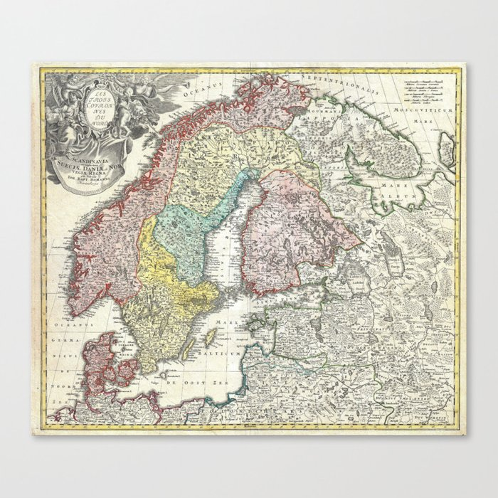 graphic about Scandinavia Map Printable named Map of Scandinavia, Norway, Sweden, Denmark and Finland Canvas Print through fineearthprints