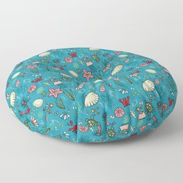 Beach and underwater pattern - fish and turtles and sea shells, oh my! Floor Pillow