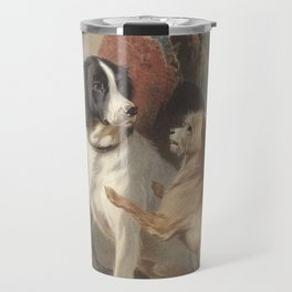 Conradijn Cunaeus - Two dogs in front of a doghouse (1838 - 1895) Travel Mug