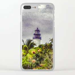 Key West Lighthouse - Painterly Photo Manipulation Clear iPhone Case
