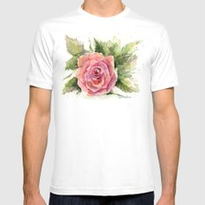 Watercolor Rose White Mens Fitted Tee MEDIUM