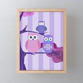 Purple Owls Framed Mini Art Print