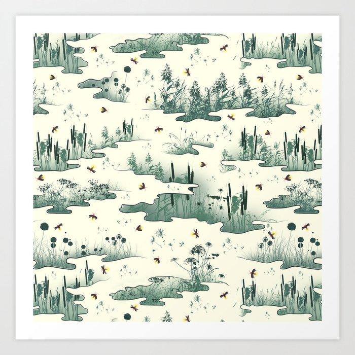 A Marsh Study - Firefly Seamless Pattern Art Print