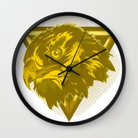 hawk Wall Clocks featuring Hawk by Joe Baron