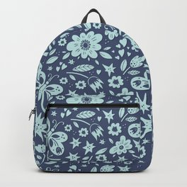 Blue Butterflies, Starfish and Flowers Backpack