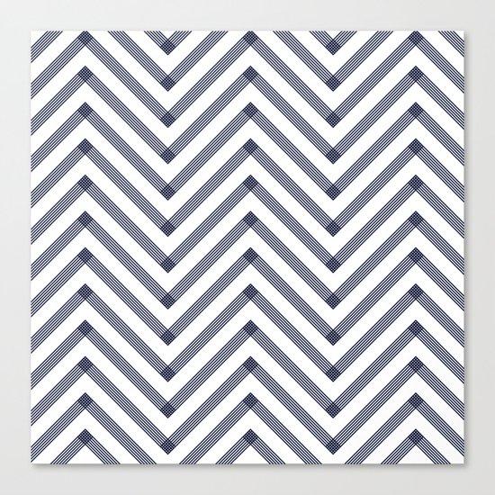 Marine Chevron Zigag pattern - dark blue on white on #Society6 Canvas Print