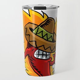 Mexican red chili pepper with guns. Travel Mug