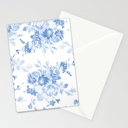 Modern navy blue white watercolor elegant floral Stationery Cards