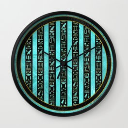Golden  Egyptian hieroglyphs on frosted glass Wall Clock